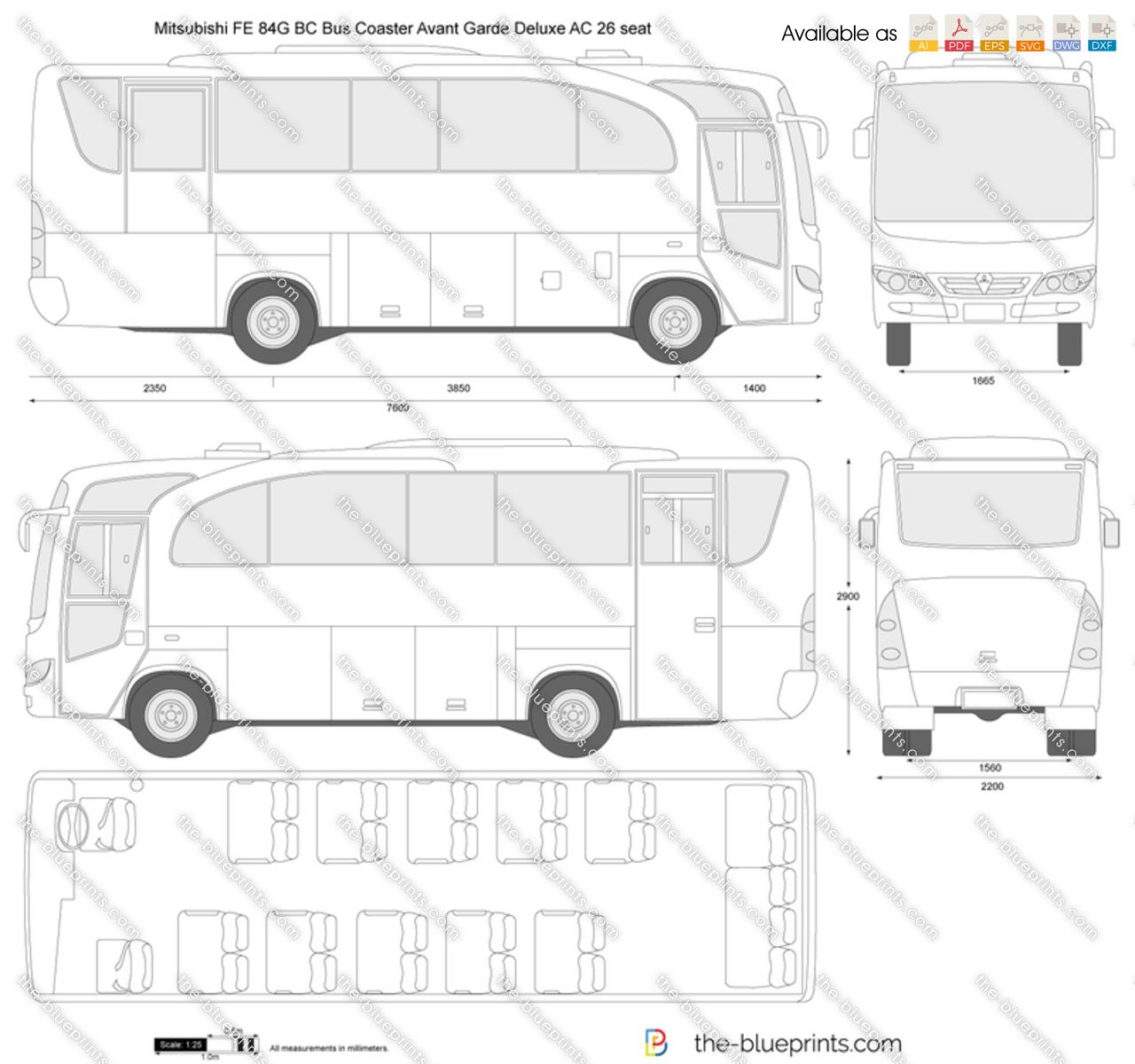 Mitsubishi FE 84G BC Bus Coaster Avant Garde Deluxe AC 26 seat