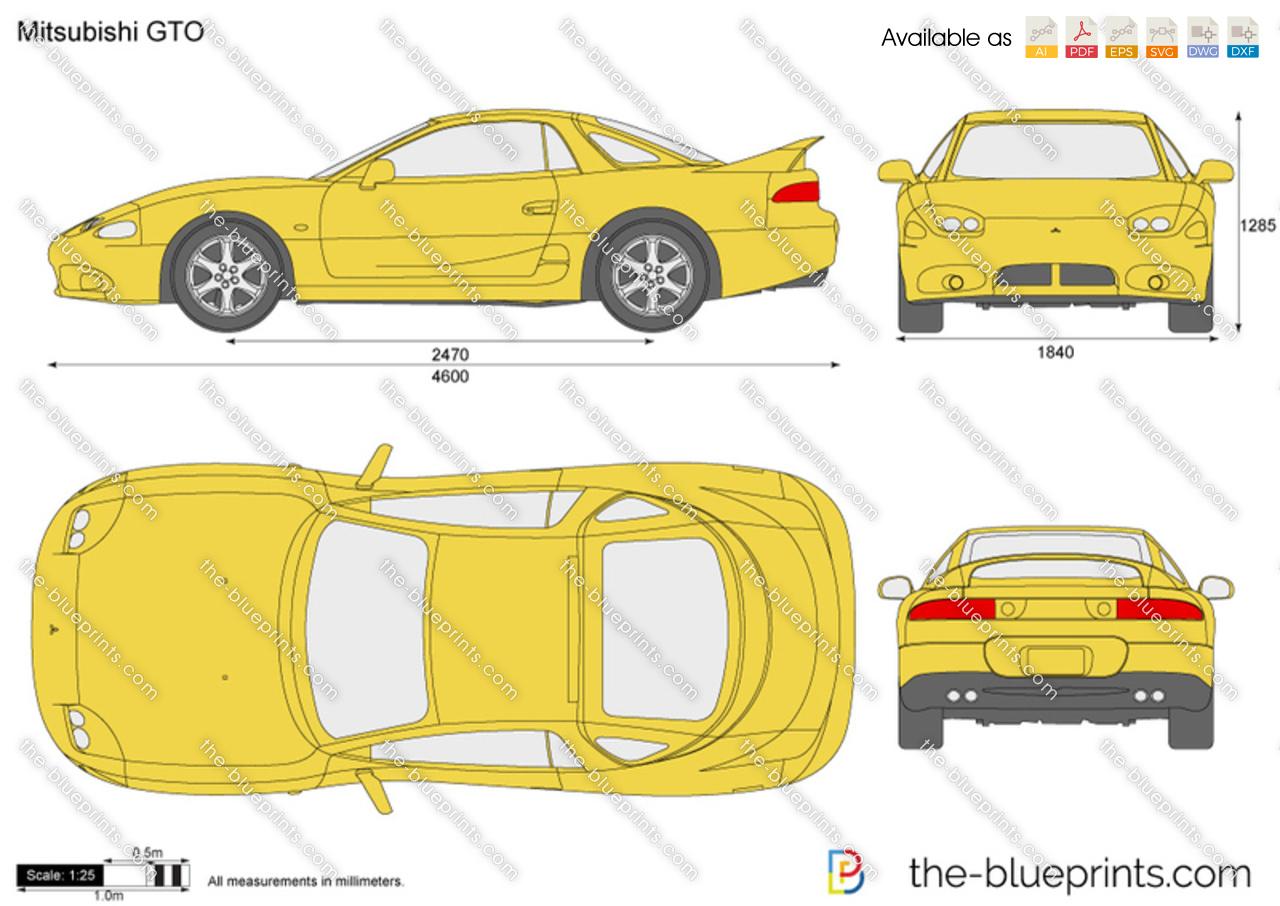The-Blueprints.com - Vector Drawing - Mitsubishi GTO