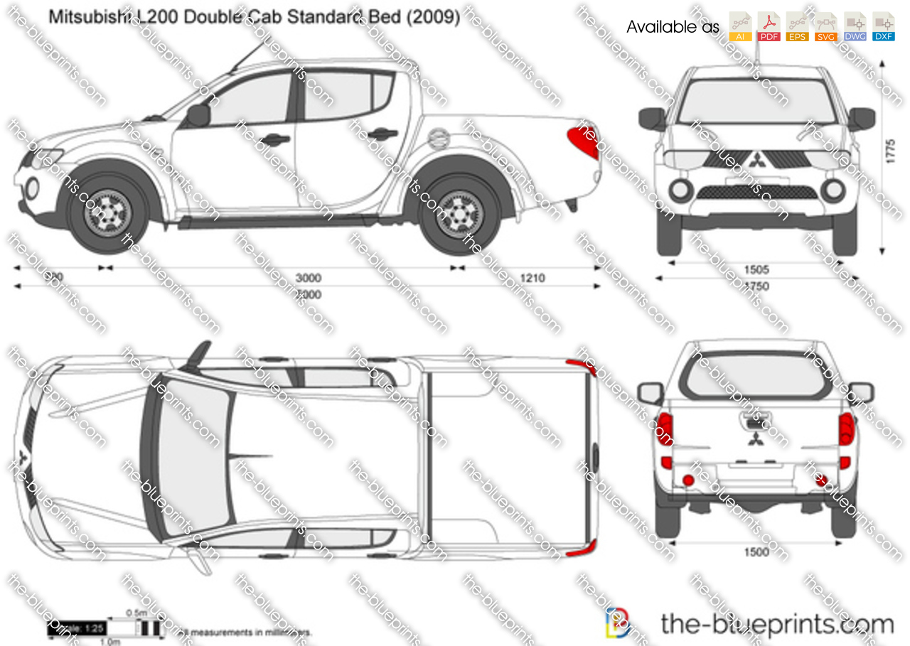mitsubishi l200 double cab standard bed vector drawing