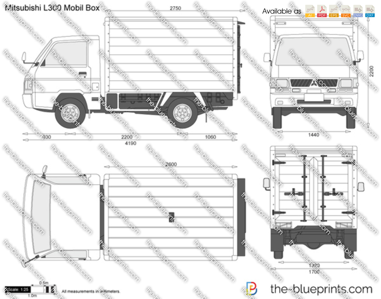 Mitsubishi L300 Mobil Box Vector Drawing