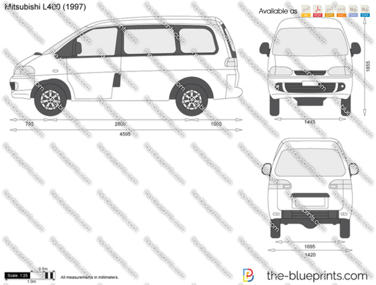 mitsubishi l400 vector drawing