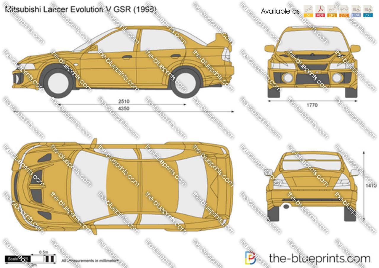 The-Blueprints.com - Vector Drawing - Mitsubishi Lancer Evolution V GSR
