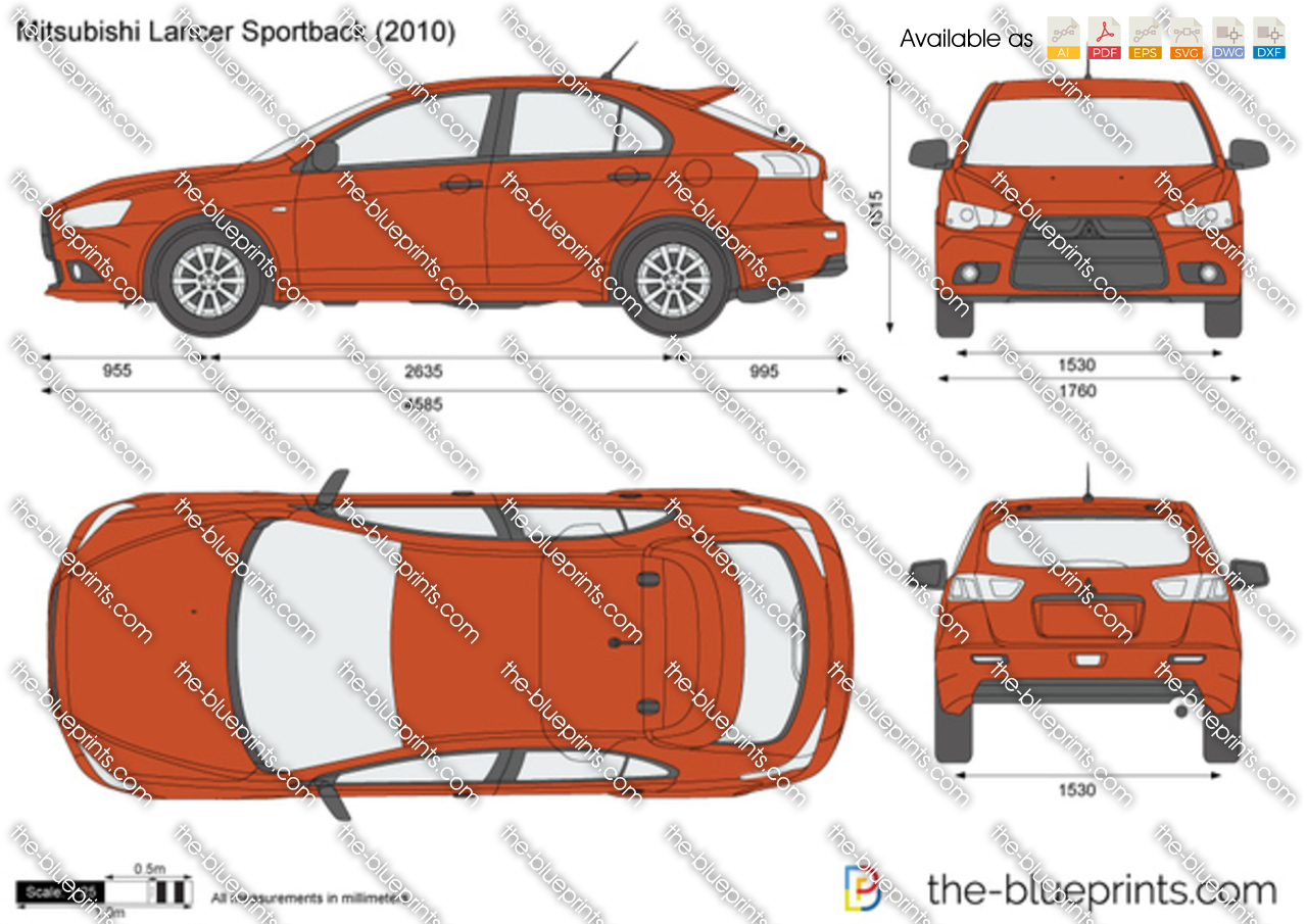 Mitsubishi Lancer Sportback Vector Drawing
