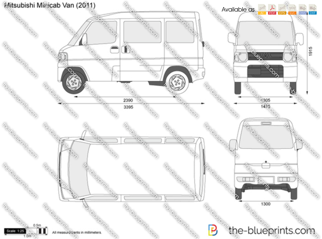 mitsubishi minicab van vector drawing