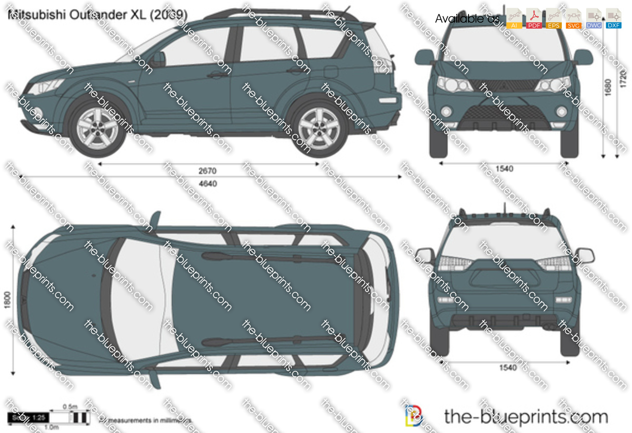 Mitsubishi Outlander Xl Vector Drawing