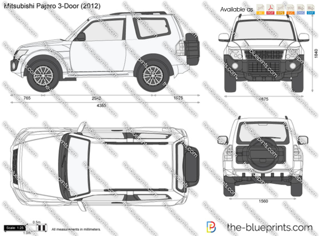 Mitsubishi Pajero 3 Door Vector Drawing