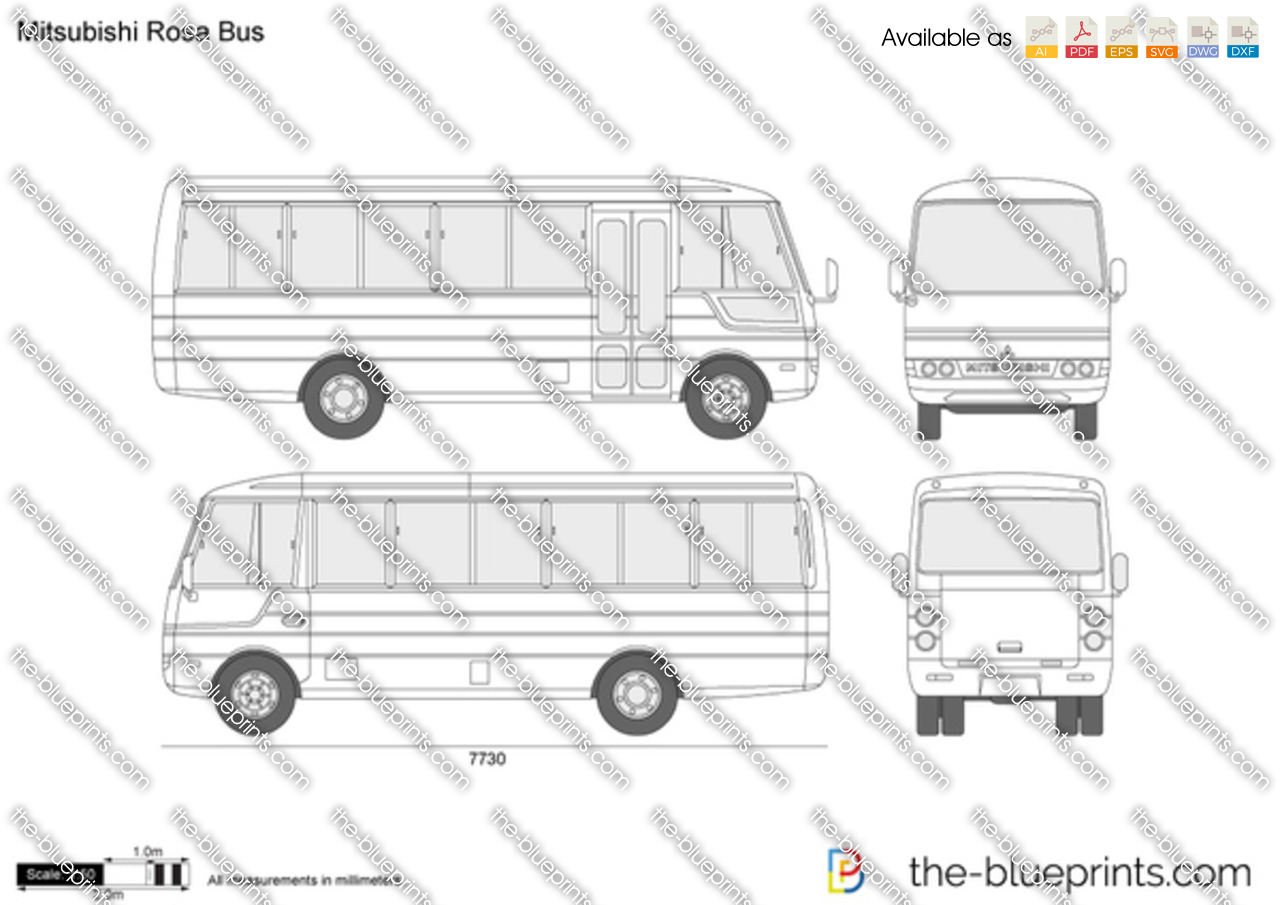 Mitsubishi Rosa Bus Vector Drawing