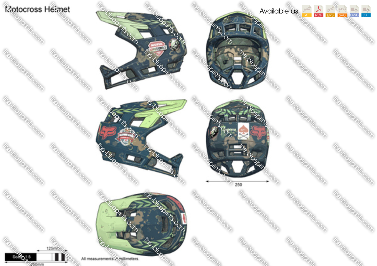 motocross helmet vector drawing