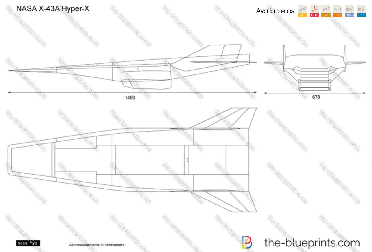 The-Blueprints.com - Vector Drawing - NASA X-43A Hyper-X