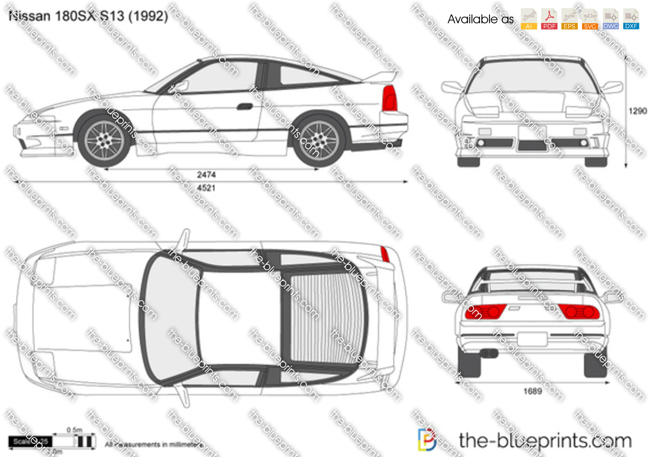 nissan 180sx s13 vector drawing