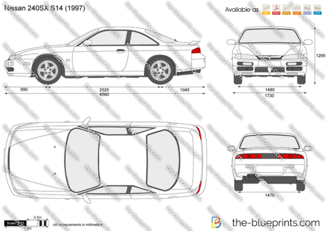 nissan 240sx s14 vector drawing
