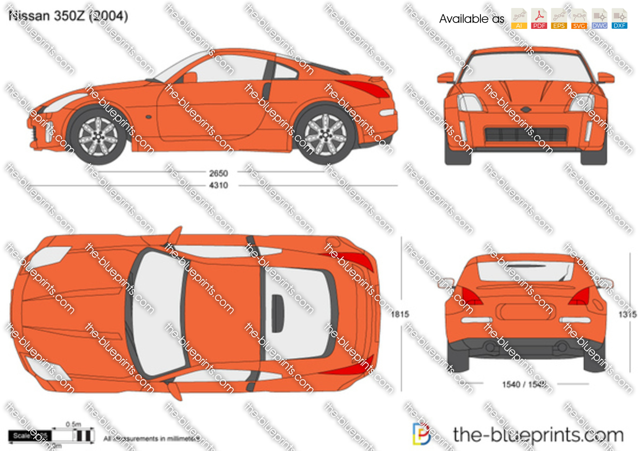 Nissan Z350 2017 >> The-Blueprints.com - Vector Drawing - Nissan 350Z