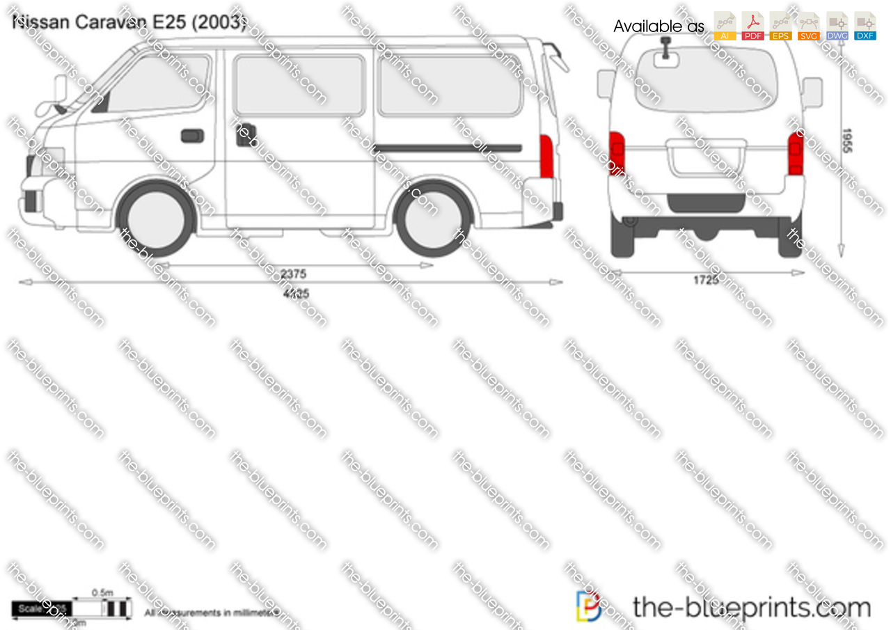Nissan Caravan E25 Vector Drawing