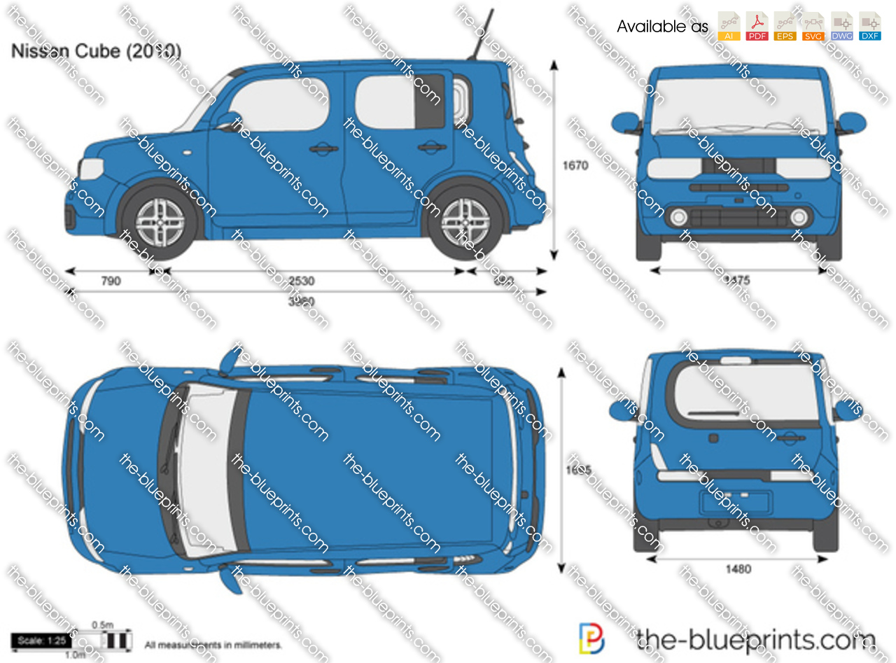 nissan cube vector drawing