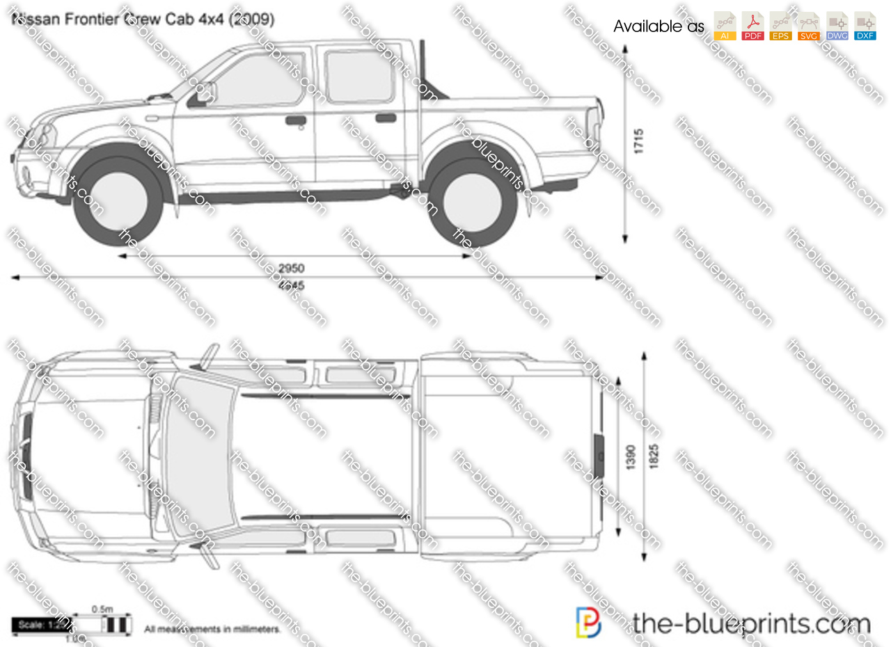 nissan frontier crew cab 4x4 vector drawing