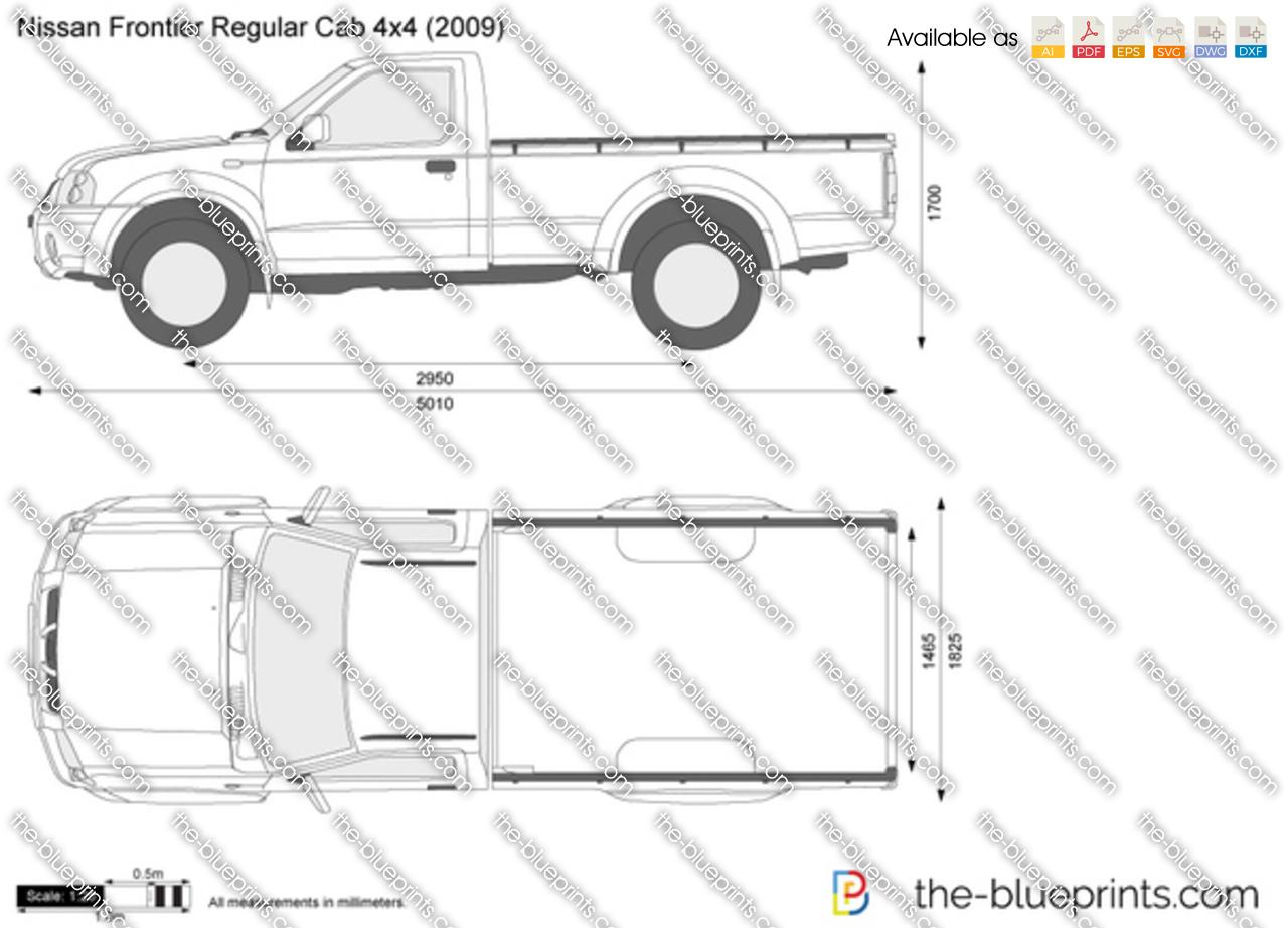 Nissan Frontier Regular Cab 4x4 Vector Drawing