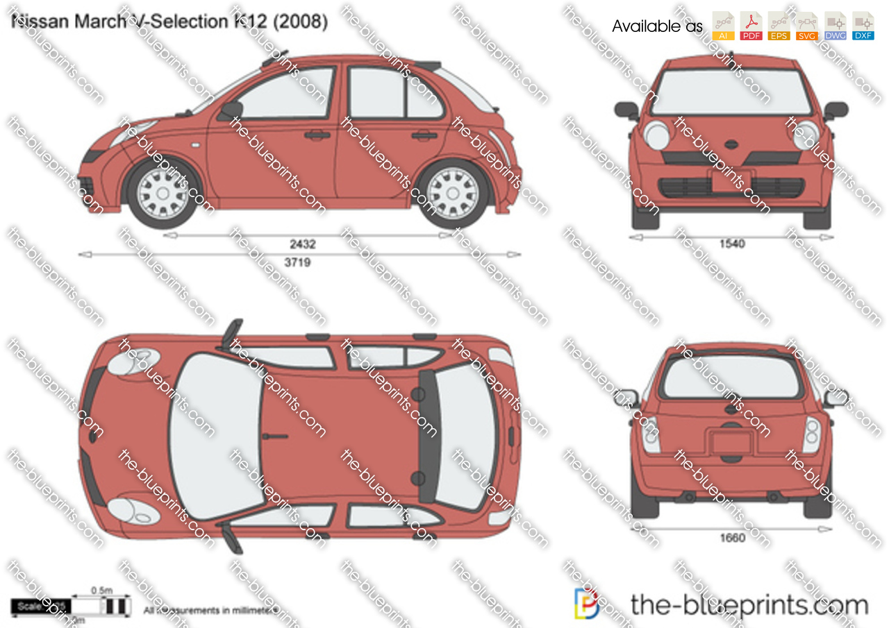 nissan march v selection k12 vector drawing. Black Bedroom Furniture Sets. Home Design Ideas