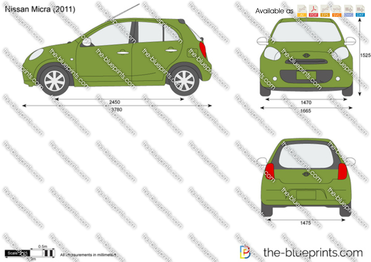 Nissan Micra Dimensions http://www.the-blueprints.com/vectordrawings/show/2021/nissan_micra/