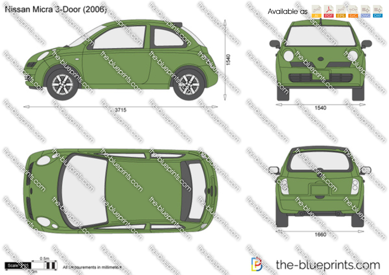 the vector drawing nissan micra 3 door. Black Bedroom Furniture Sets. Home Design Ideas