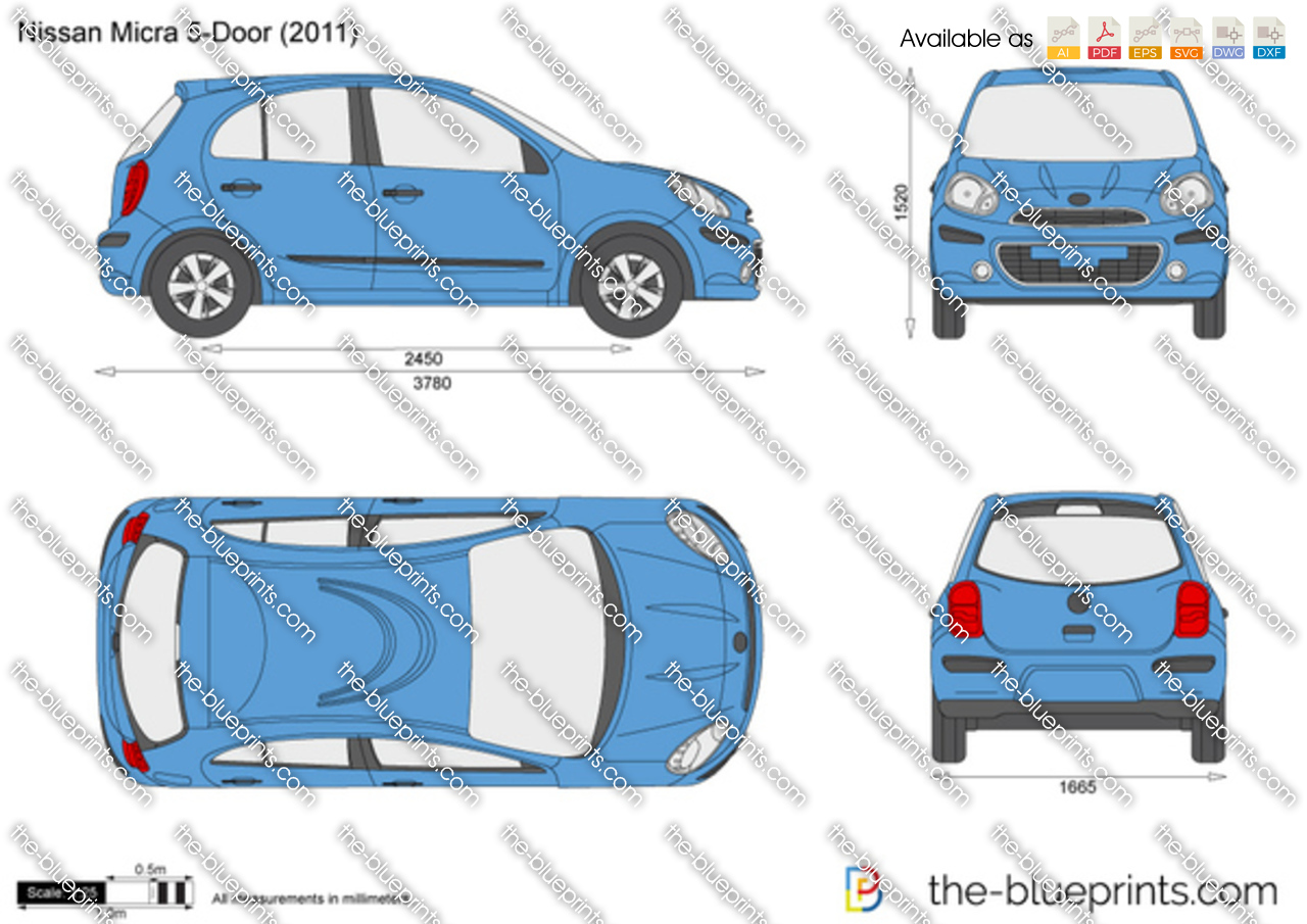 Nissan Micra 5 Door Vector Drawing