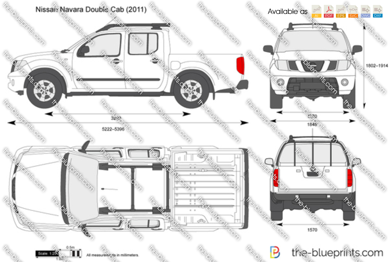 Nissan Navara Double Cab Vector Drawing