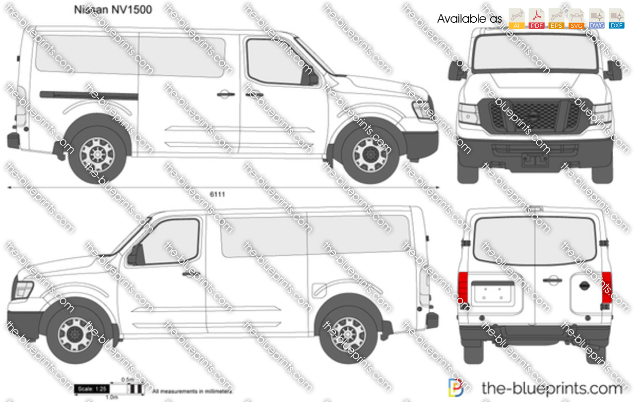 Nissan Passenger Van >> The-Blueprints.com - Vector Drawing - Nissan NV1500