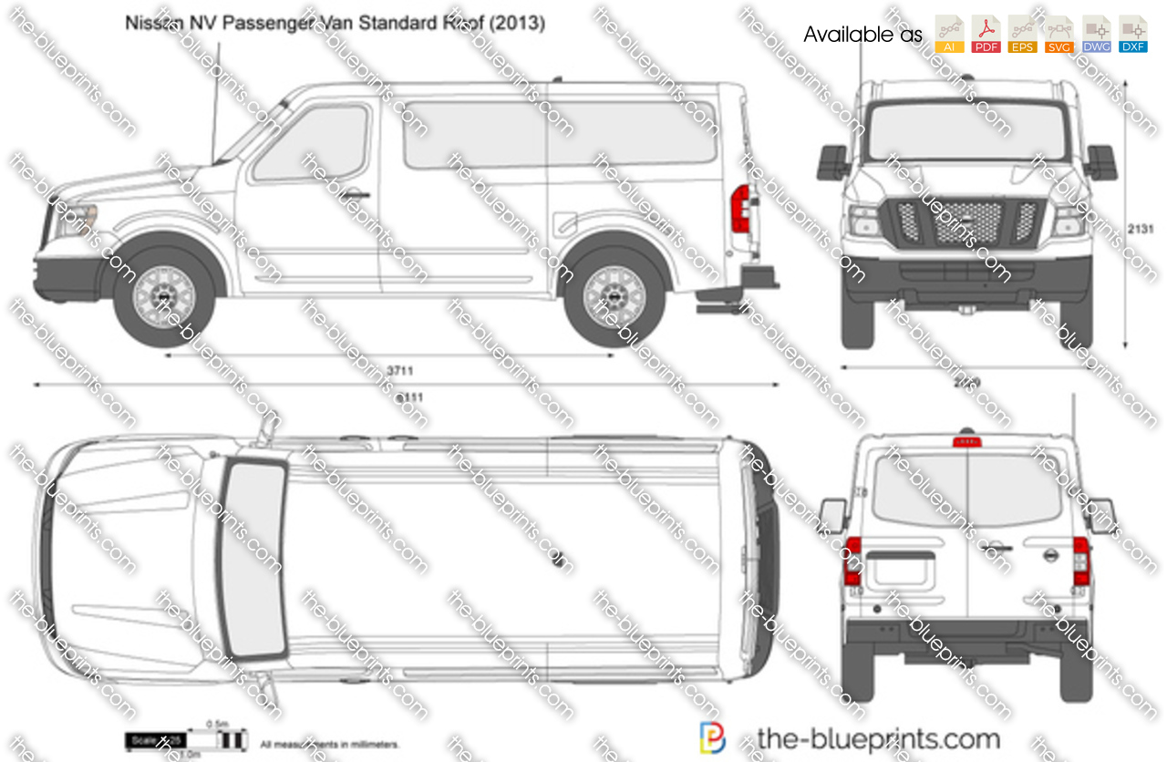 nissan nv passenger van standard roof vector drawing