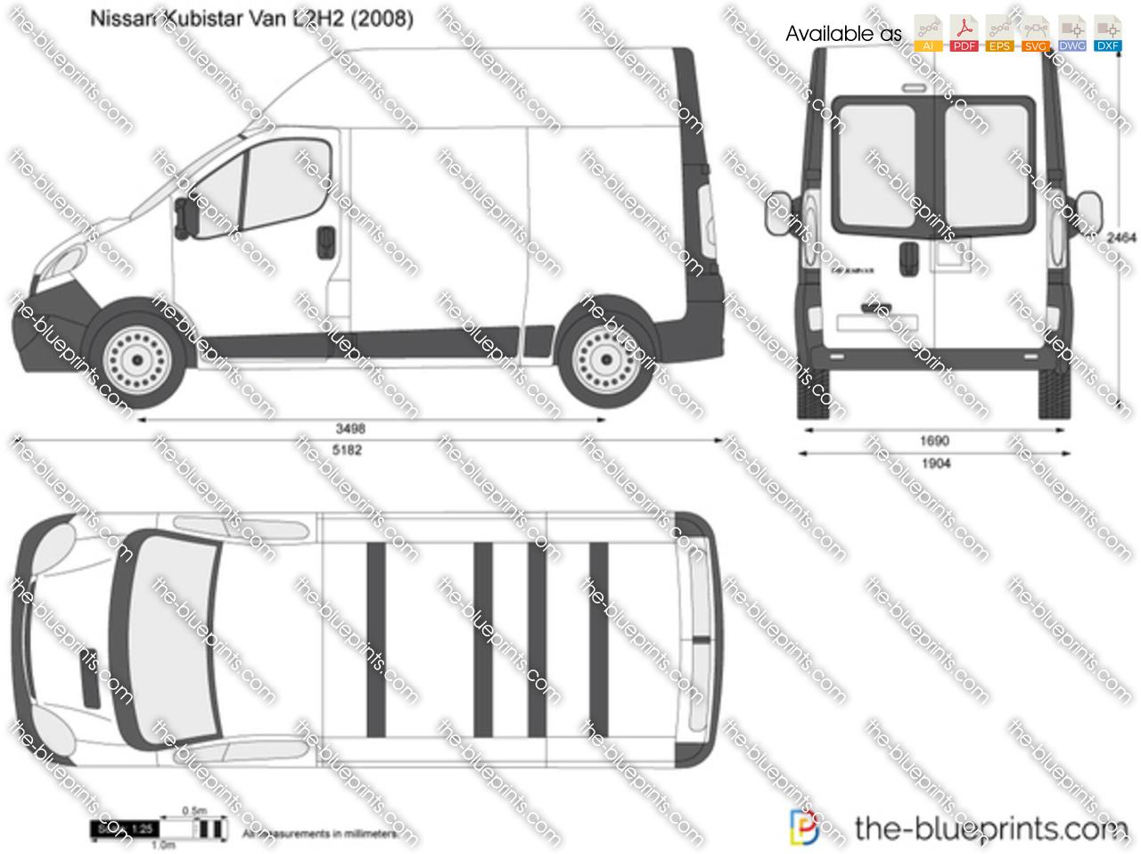 nissan primastar van l2h2 vector drawing. Black Bedroom Furniture Sets. Home Design Ideas