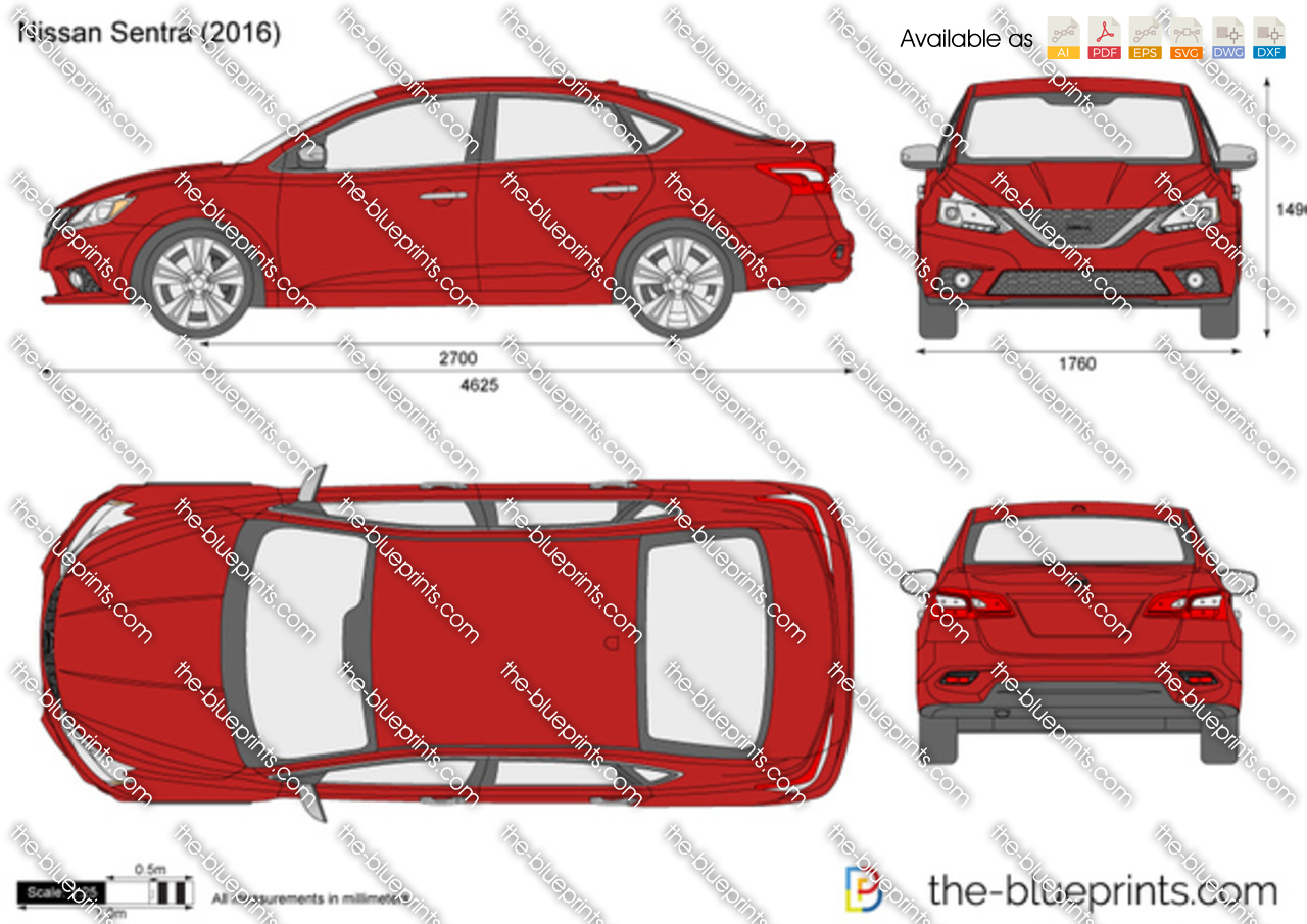 Nissan Sentra vector drawing