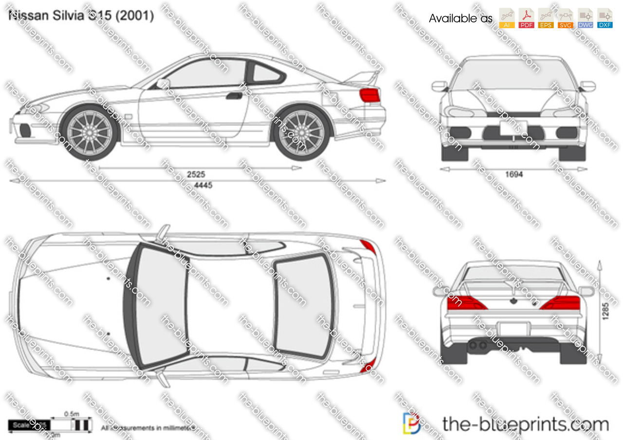 Nissan Silvia S15 Vector Drawing