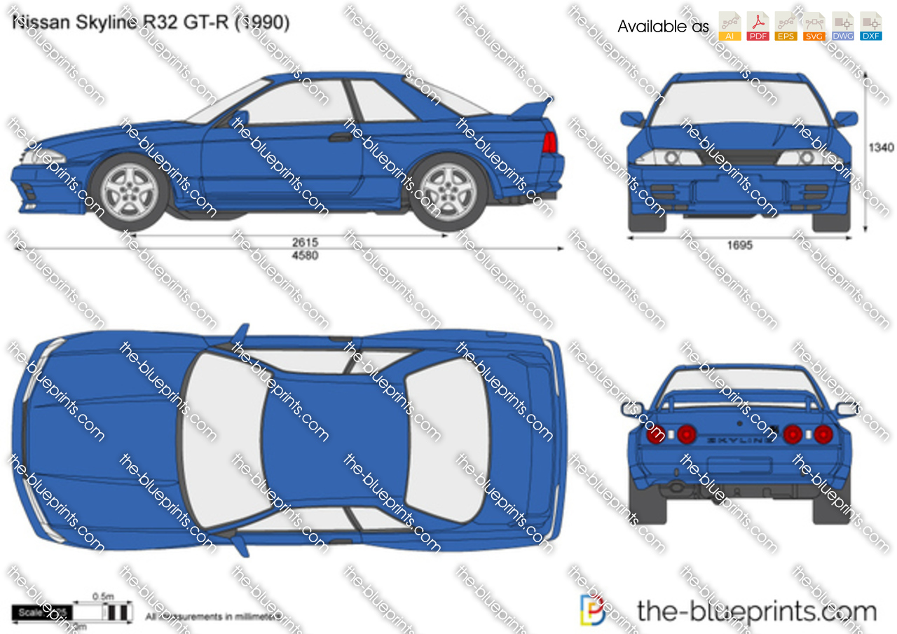 Nissan Skyline R32 Gt R Vector Drawing
