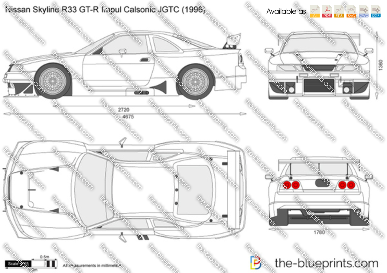Nissan Skyline R33 Gt R Impul Calsonic Jgtc Vector Drawing