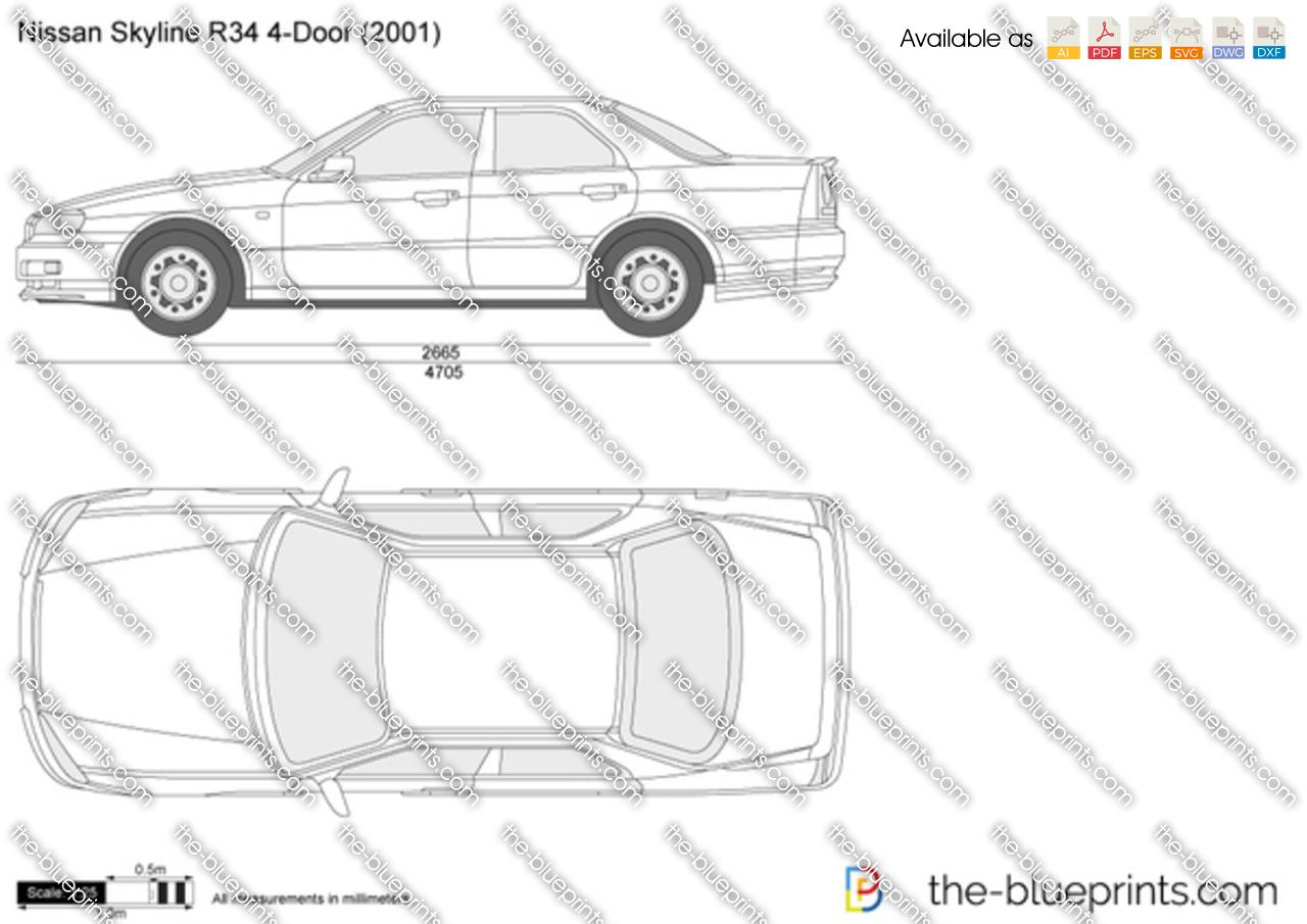 Nissan skyline r34 4 door vector drawing nissan skyline r34 4 door malvernweather Choice Image