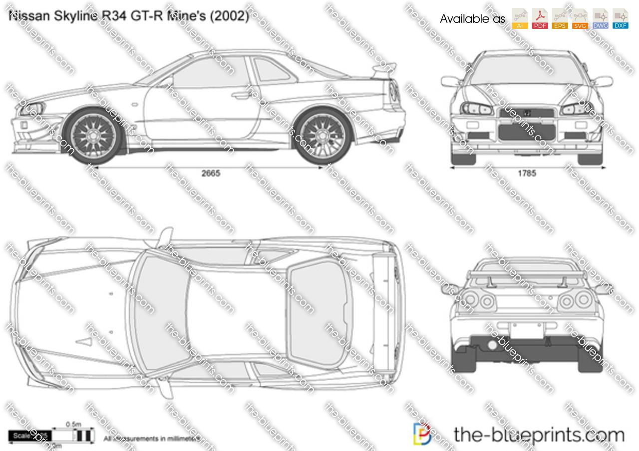 Nissan Skyline R34 GT-R Mine\'s vector drawing
