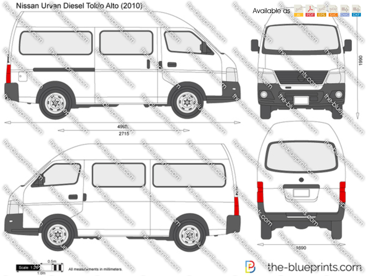 Nissan Urvan Diesel Toldo Alto Vector Drawing