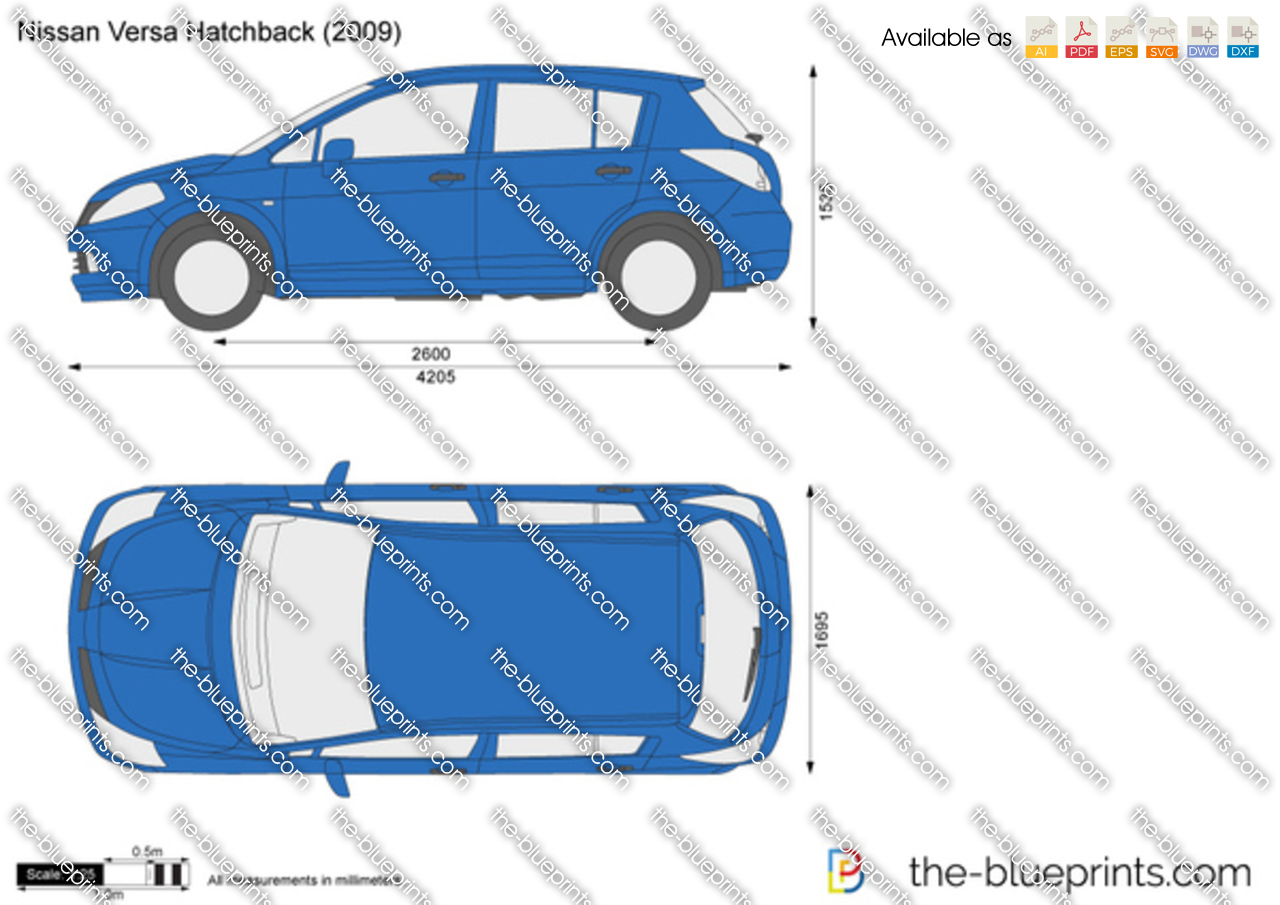 nissan versa hatchback vector drawing