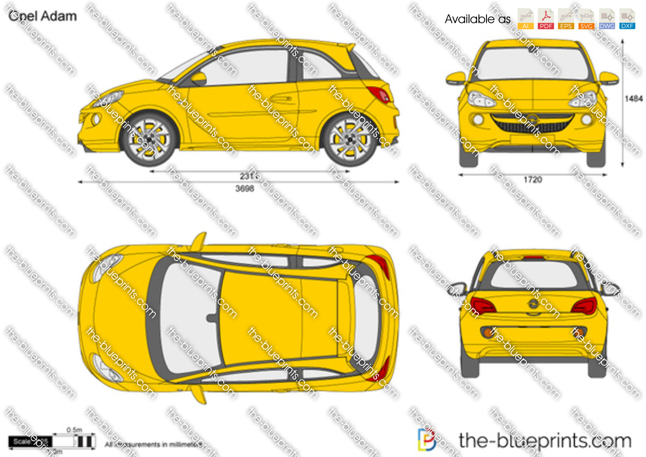 the vector drawing opel adam. Black Bedroom Furniture Sets. Home Design Ideas
