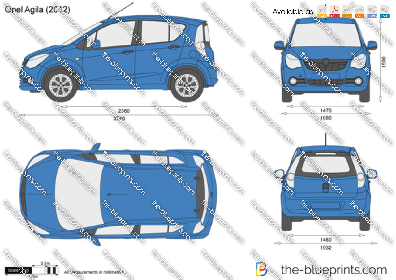 the vector drawing opel agila. Black Bedroom Furniture Sets. Home Design Ideas