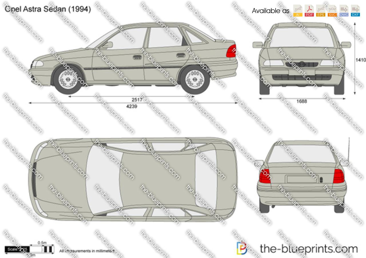 opel astra f sedan vector drawing. Black Bedroom Furniture Sets. Home Design Ideas