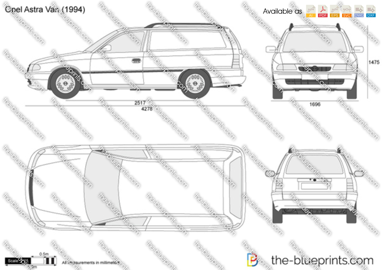 the vector drawing opel astra f van. Black Bedroom Furniture Sets. Home Design Ideas