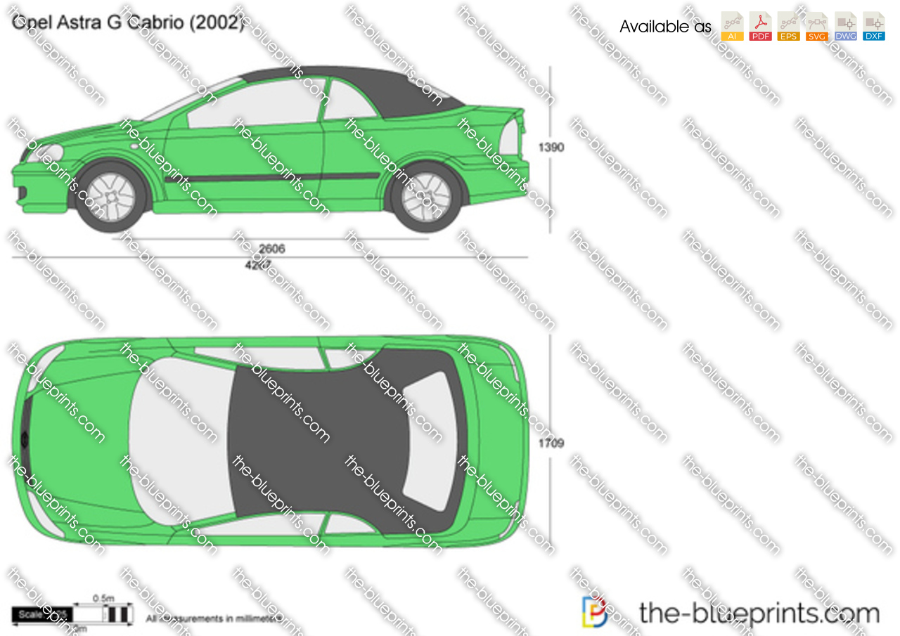 opel astra g cabrio vector drawing
