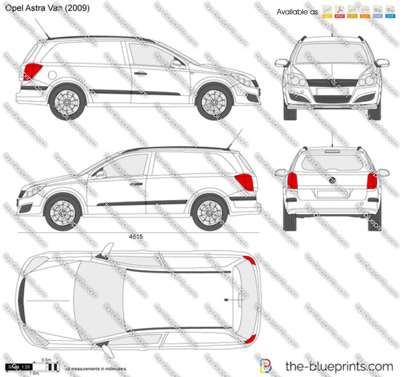 the vector drawing opel astra h van. Black Bedroom Furniture Sets. Home Design Ideas