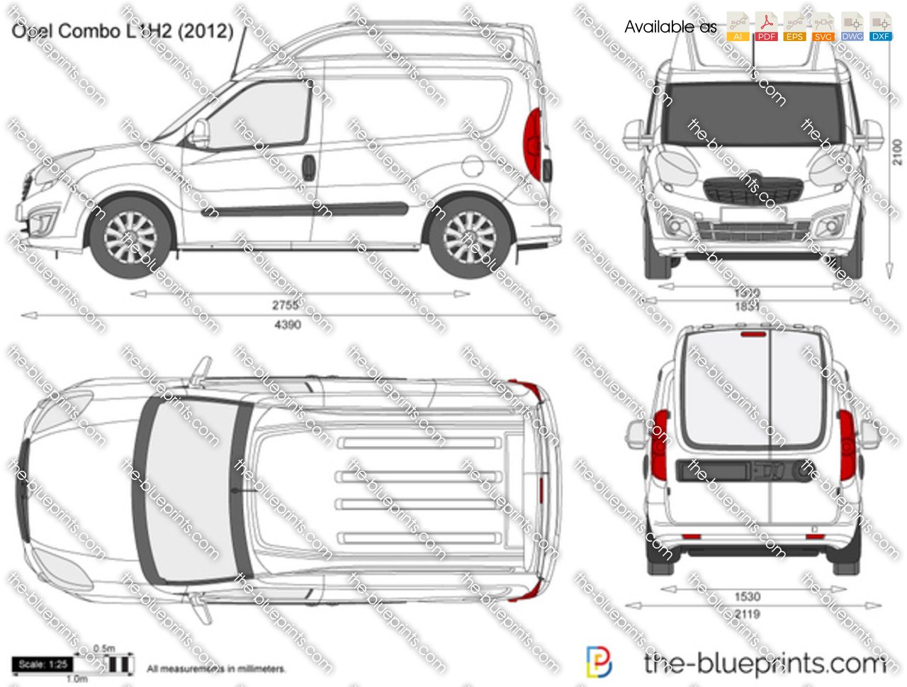 opel combo d l1h2 vector drawing