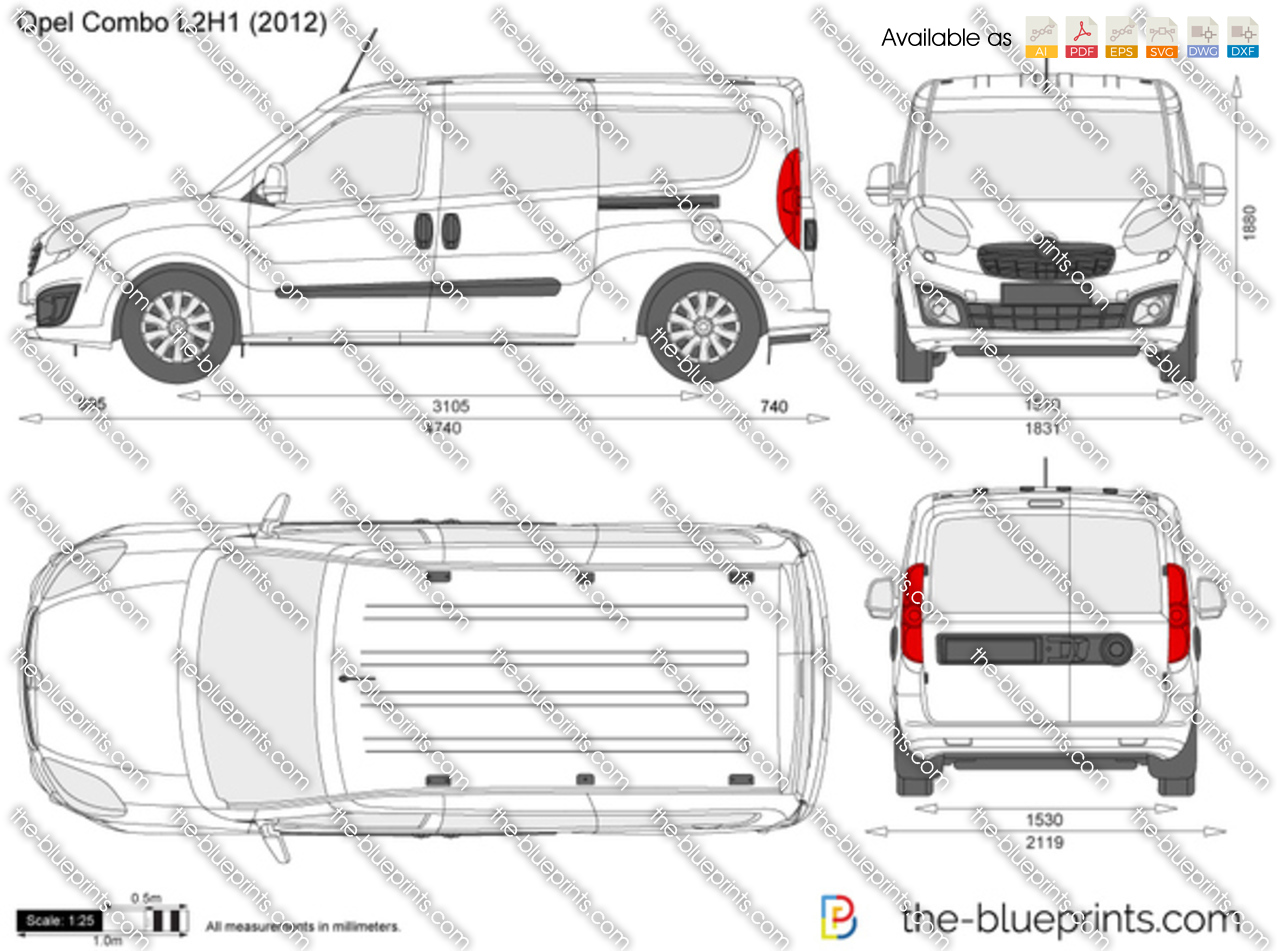 opel combo d l2h1 vector drawing. Black Bedroom Furniture Sets. Home Design Ideas