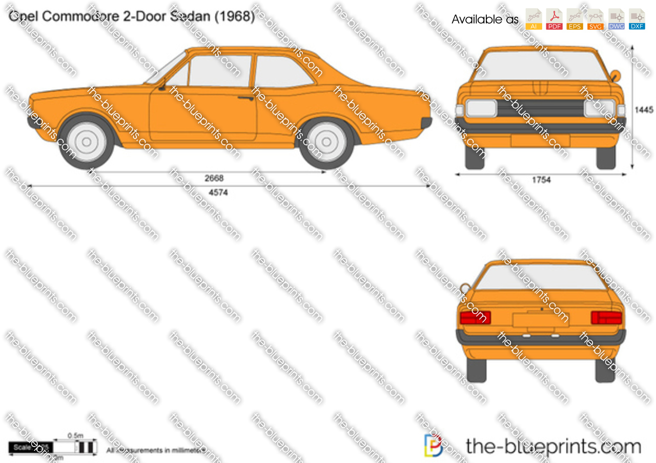 Opel Commodore 2 Door Sedan Vector Drawing
