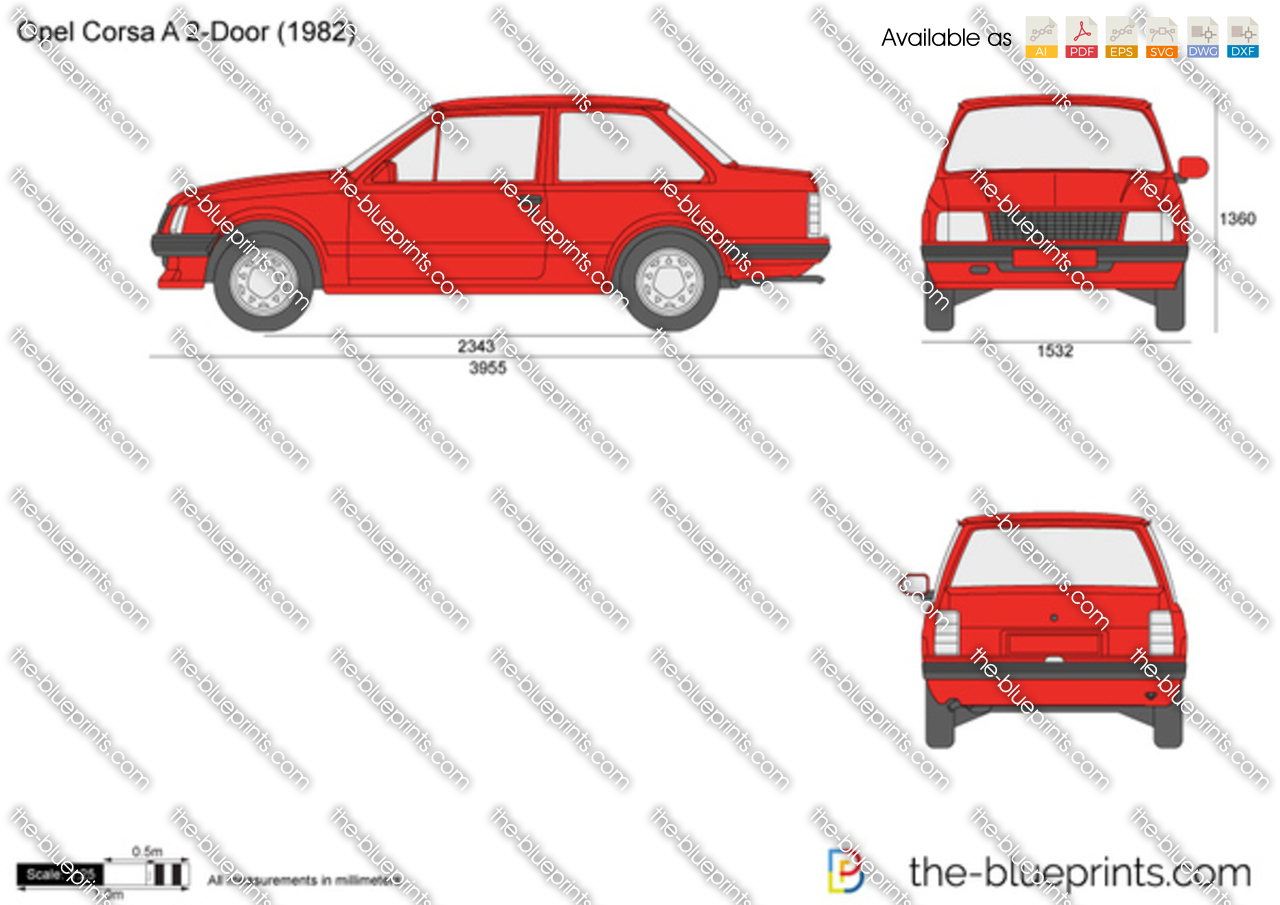 opel corsa a 2 door vector drawing. Black Bedroom Furniture Sets. Home Design Ideas