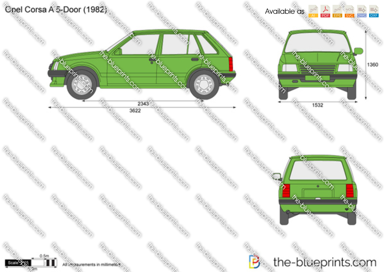 opel corsa   door vector drawing