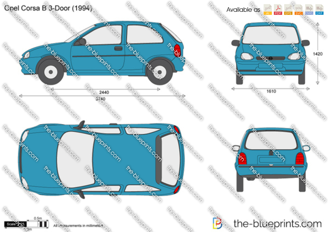 the vector drawing opel corsa b 3 door. Black Bedroom Furniture Sets. Home Design Ideas