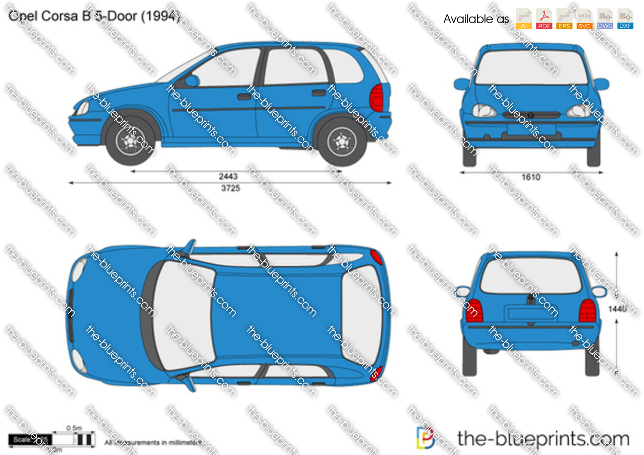 the vector drawing opel corsa b 5 door. Black Bedroom Furniture Sets. Home Design Ideas