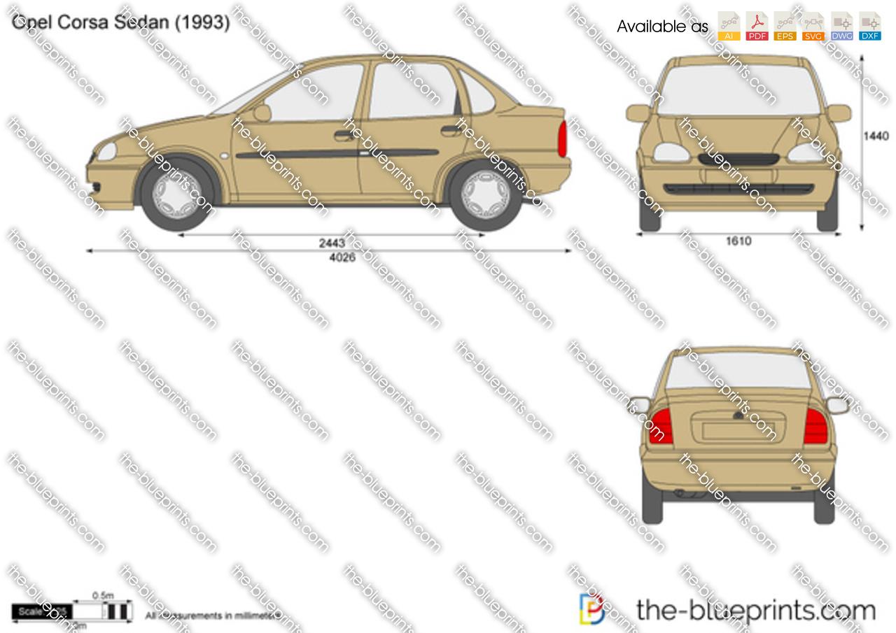 opel corsa b sedan vector drawing. Black Bedroom Furniture Sets. Home Design Ideas